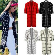 Ladies Checked Check Long Boyfriend Blazer Women's Suit Jacket Coat Trousers