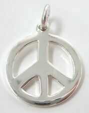 """REAL 925 Sterling Silver SMALL Round """"PEACE SIGN"""" Pendant or Charm Bracelet GIRL"""