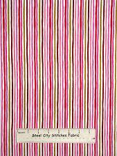 Loralie Harris On The Mend Garden Stripe Cotton Fabric 691-916-B White YARD