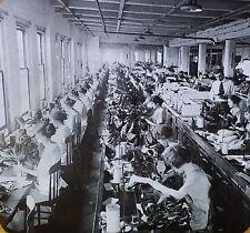 Sewing Room in Shoe Factory, Syracuse, New York, Magic Lantern Glass Photo Slide