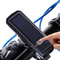 Solarbetriebene USB wiederaufladbare LED Fahrrad Scheinwerfer + Hupe