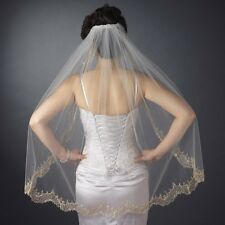 Embroidered Wedding Bridal Veil w/ Elaborate Beaded Scalloped Edge Elbow Length