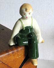 "Shelf Sitting Cream and Green Porcelain Boy Figurine vintage Japan 4"" Free Sh"