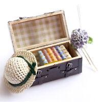 Fashion Retro 1:12 Dollhouse Miniature Leather Wood Suitcase Mini Luggage J Pbjo