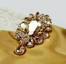 Luxury Gorgeous Champagne Gold Tone Large Glass & RhineStone Crystal Brooch Pin