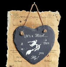 Witches Slate Heart Hanging Sign  Witch Pagan Wiccan Gift Home Life's a Witch