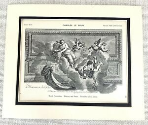 1903 Antique Print Wall Painting The Palace of Versailles France Charles Le Brun