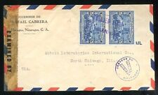 NICARAGUA to USA censor airmail cover 1948