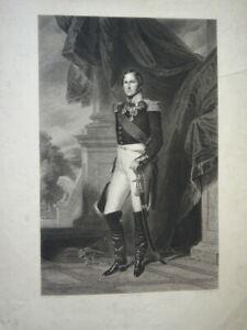 BELLE GRAVURE PORTRAIT LEOPOLD I ROI DES BELGES BELGIQUE PROTESTANTISME 1845