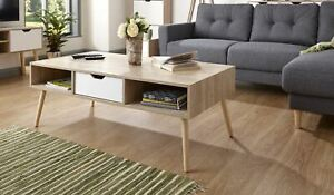 Coffee Table 1 Drawer Occasional Table Oak Veneer Solid Wood Legs Seconds