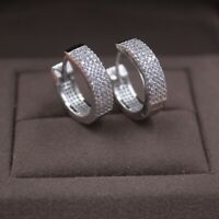 Pure S925 Sterling Silver Hoop Men Women Fashion Zircon Earrings