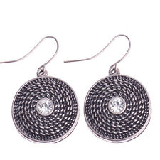 New Silver Plated BOHO Style Crystal Center Round Disc Hook Dangle Drop Earrings
