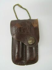 VINTAGE BUGATTI LEATHER POUCH HOLDER WITH NAIL CLIPPERS & POCKET KNIFE ! NR !!!