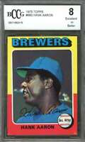 1975 topps #660 HANK AARON milwaukee brewers BGS BCCG 8