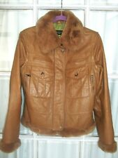 MAX MARA Jacket 10 Honey leather fur trim detachable collar and zip off sleeves