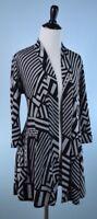 JOSEPH RIBKOFF $425 Gray Black 3/4 Sleeve Geometric Open Front Jacket Size 6