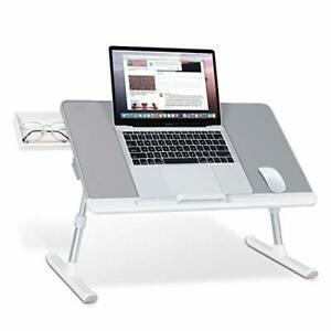 Laptop Bed Tray Table Adjustable PVC Leather 23.6 x 12.6 In Gray