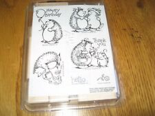 Stampin Up Hedgehog Happiness Wood Rubber Stamps Set