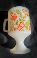 Vintage Groovy Retro Orange Green flowers Pedestal Cup Footed Mug Milk Glass 70s