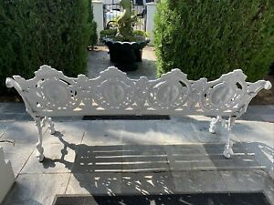 Victorian heavy duty cast iron garden bench, French Figural 1920  Large
