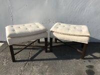 Pair of Ottoman Stools Bench Bed Parsons Wood Benches Seating Ottomans Chair