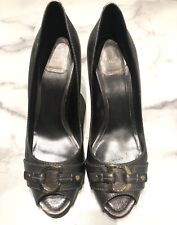 Christian Dior Gray Leather Open Toe Heels Shoes