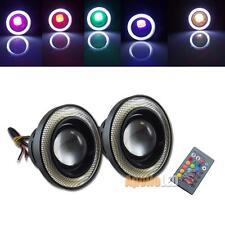2x RGB Color 3.5''  Wireless Control LED Car Fog Light w/White Angel Eye Rings