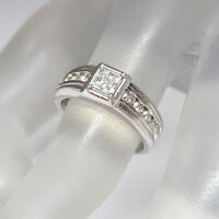 Platin Ring mit 0,60ct TW-vsi Prinzess und Brillant in PT 900`er Platin