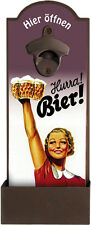 Wandflaschenöffner - HURRA BIER - Flaschenöffner für die Wand - GRV001