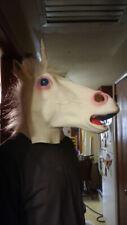 Full Face Halloween Unicorn Mask Creepy Head Latex Costume Prop Mask