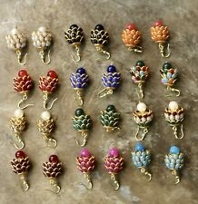 New Indian Pakistani Ethnic Bollywood Gold Plated White Pearl Jhumki Bali Earing