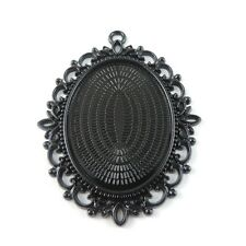 4X Vintage Style Gunblack Oval Lace Cameo Settings(40*30mm) 59*49mm Findings