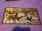 """Vintage Italian Velvet Wall Hanging Tapestry Deer Outdoors Winter Sunset 19""""×38"""""""