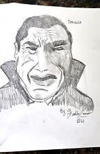 FREDDY CANNON 11 x 14 pencil art drawing Bela Lugosi as Dracula