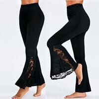 Fashion Womens High Waist Leggings Long Wide Leg Lace Panel Flare Pants Trousers