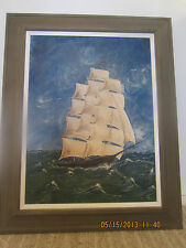 """ORIGINAL, SIGNED, """"CLIPPER SHIP"""" OIL PAINTING"""
