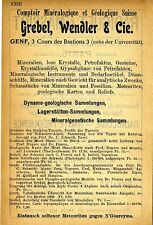 Grebel, wendler & Cie GENÈVE comptoir minèralogique historique la publicité de 1907