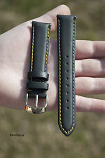 NEW 18mm Quality Unisex Genuine Leather Black Calf Watch Strap Band Womens Mens
