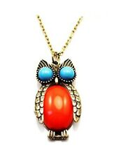 Owl Necklace Antiqued Bronze 24 inch Turquoise Coral Steampunk Jewelry