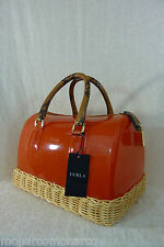 NWT FURLA Papaya Reddish Orange Wicker Candy Satchel Bag $498 - Made in Italy