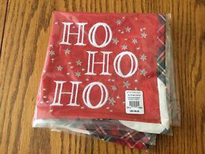 Pottery Barn Kids Red Plaid Napkin Christmas Santa Ho Ho Ho SOLD OUT New Cute