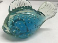 "Vintage Murano Fish Controlled Bubble Art Glass Blue Hand-blown 4"" Long Italy"