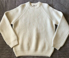 Alan Paine Men's Pure Lambswool Cable Knit Sweater Euro Sz 52 USA Sz XL Ivory