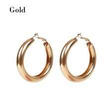 Big Gold Alloy Hoops Earrings Minimalist Thick Tube Round Circle Rings Earrings