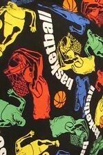 "Fabric Basketball 1/2 yard x 43"" wide new 2010 cotton VIP by Cranston black"