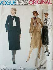 Dior Designer Vogue 1843 80s Jacket Blouse Skirt Vtg Sewing Pattern B 38