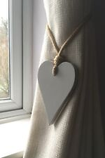 Handmade Light Grey Long Heart Curtain Tie Backs With Jute Rope And Button Ties