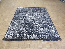 7'11 X 9'10 Hand Knotted Black Broken Design Tone On Tone Oriental Rug G5934
