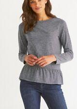 A13# The White Company Stripe Frill Hem T-Shirt Navy Size UK 10 RRP £59