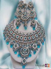 Silver Plated Jodha Akbar Kundan Zerconic Indian Necklace Earrings Tikka Set 3
